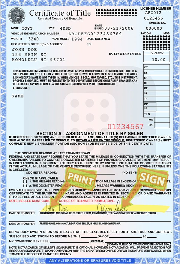 Department Of Motor Vehicles Honolulu Forms