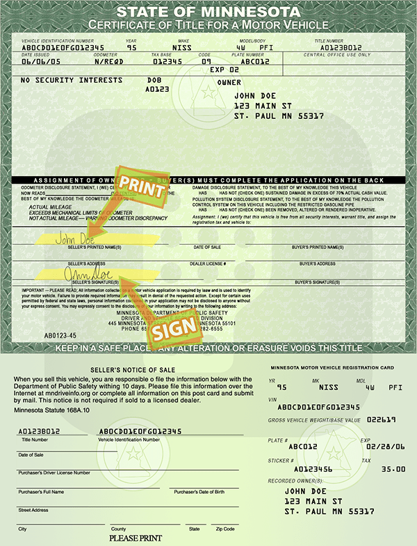 Minnesota title processing information donate a car 2 for Motor vehicles state mn us